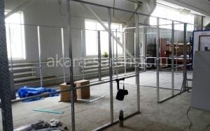 Монтаж каркаса  офисного помещения с потолочным перекрытием
